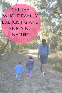 Family exercising in nature